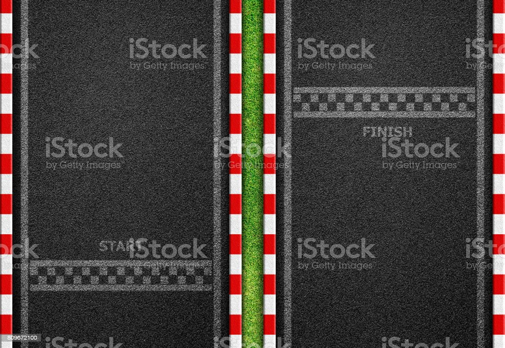Start and Finish line racing background top view stock photo