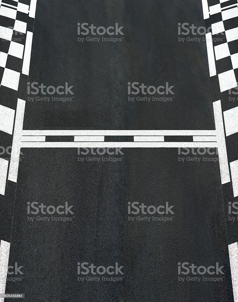 Start and Finish race line asphalt texture Grand Prix circuit stock photo