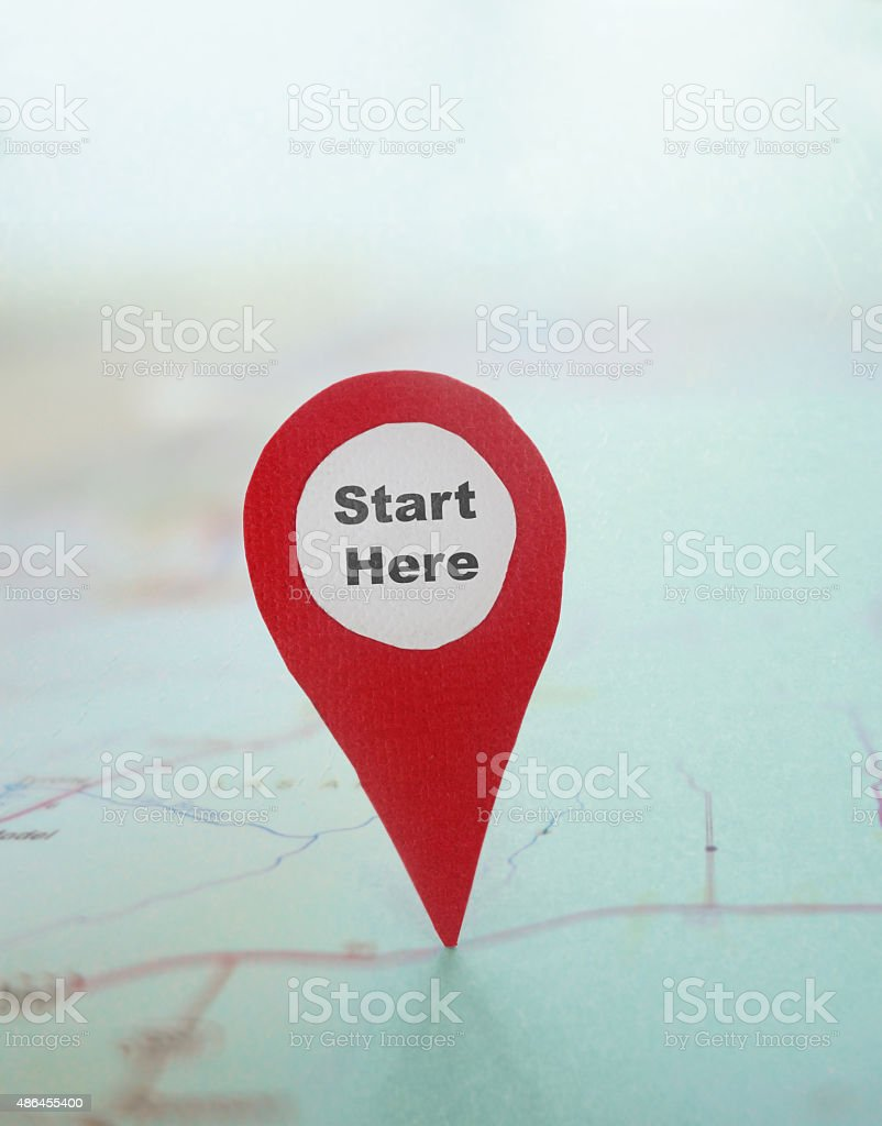 Start Here locator stock photo