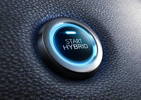 Start hybrid button with blue light on black leather dashboard - 3D illustration