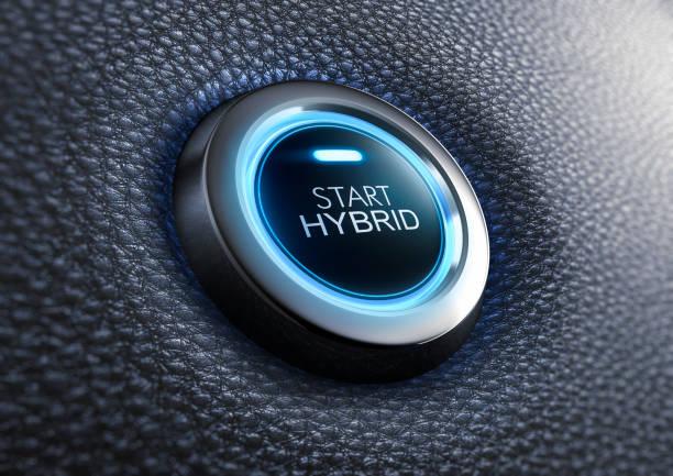 Start hybrid button stock photo