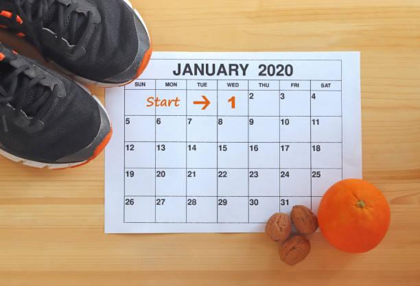 börja i ett friskt nytt år 2010 - calendar workout bildbanksfoton och bilder