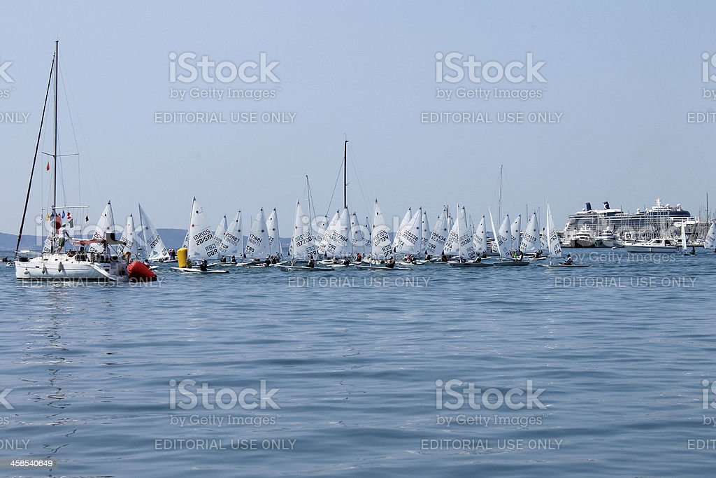 Start International regatta class 'Laser' in the port of Split. royalty-free stock photo