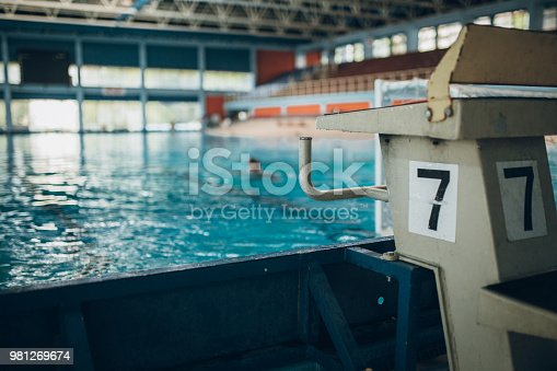 Indoors swimming pool. Start line number 7