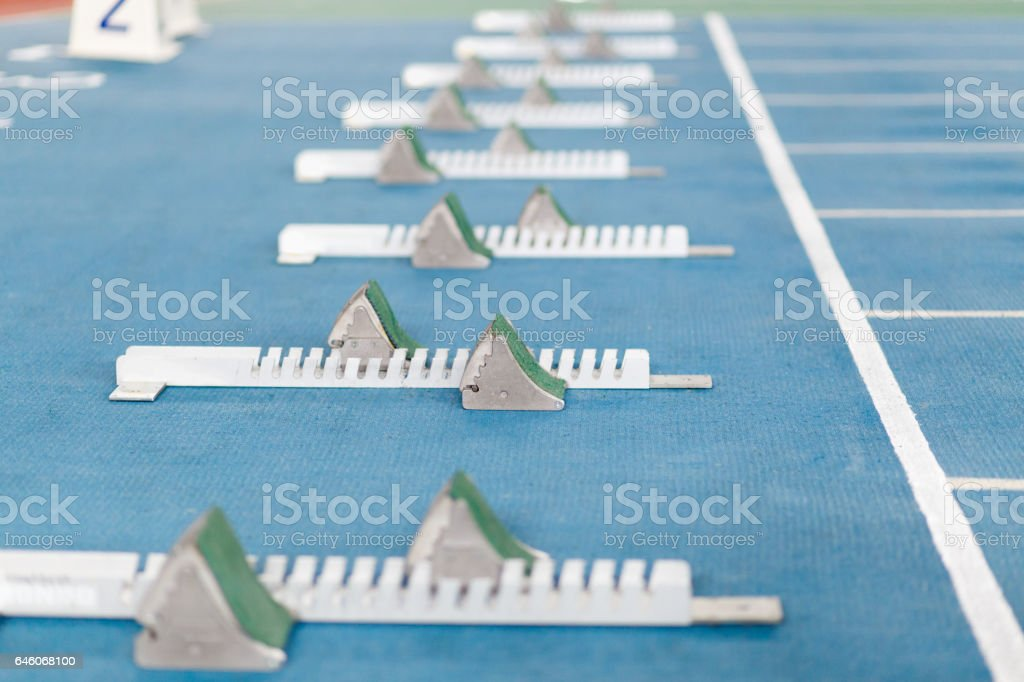 Start line for track an field competition stock photo