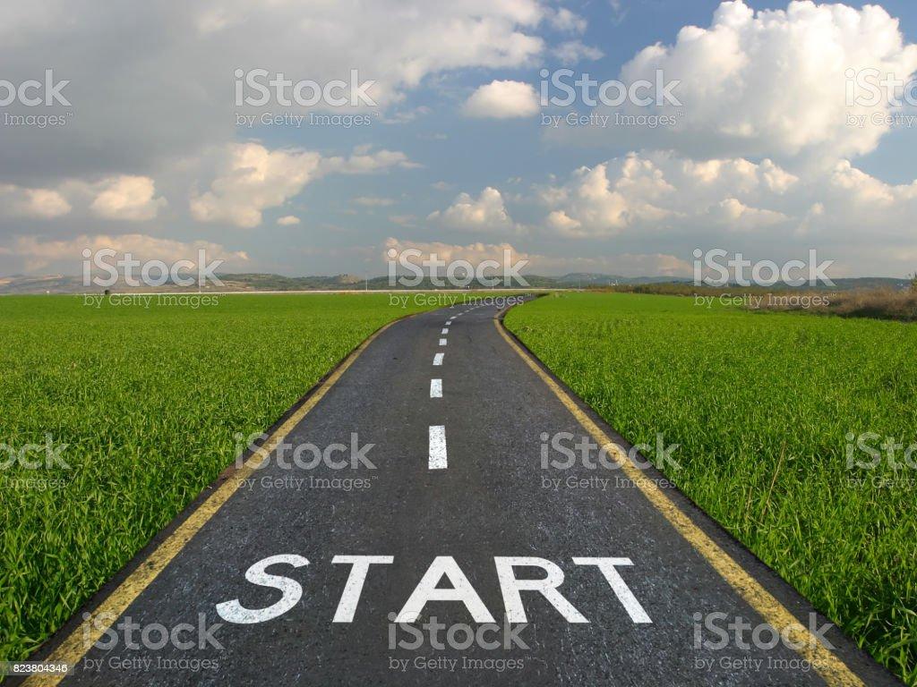Start line new road journey stock photo