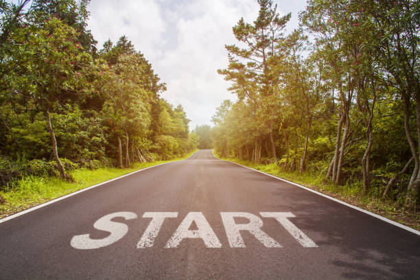 Start line on the highway concept for business planning, strategy and challenge or career path, opportunity and change stock photo