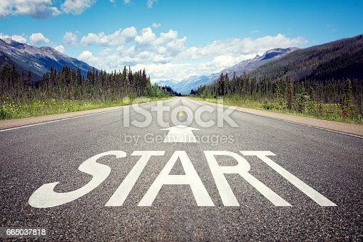 Start line on the highway concept for business planning, strategy and challenge or career path, opportunity and change