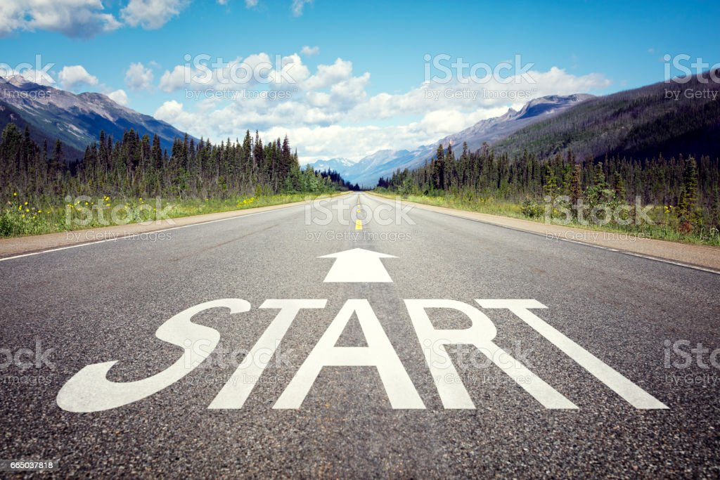 Start line on the highway - foto stock