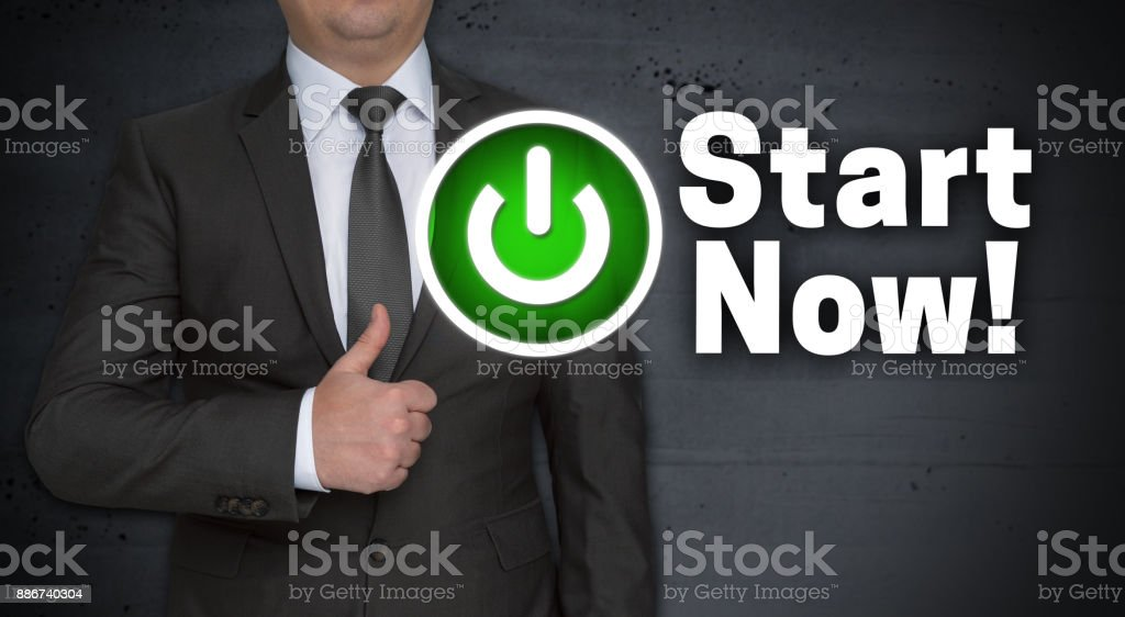 Start Now concept and businessman with thumbs up stock photo