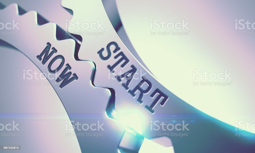 Start Now - Mechanism of Metal Cog Gears . 3D stock photo