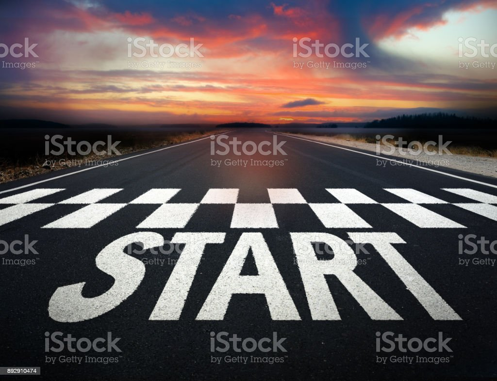 Start of 2018 road marking, note paint details stock photo