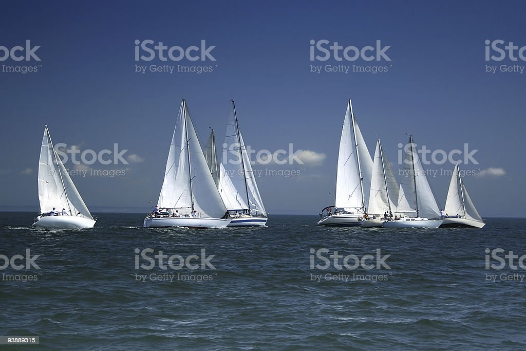 Start of a sailing regatta royalty-free stock photo