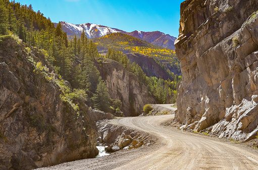 Start of Colorado 4x4 dirt high elevation mountain road in the San Juan mountains