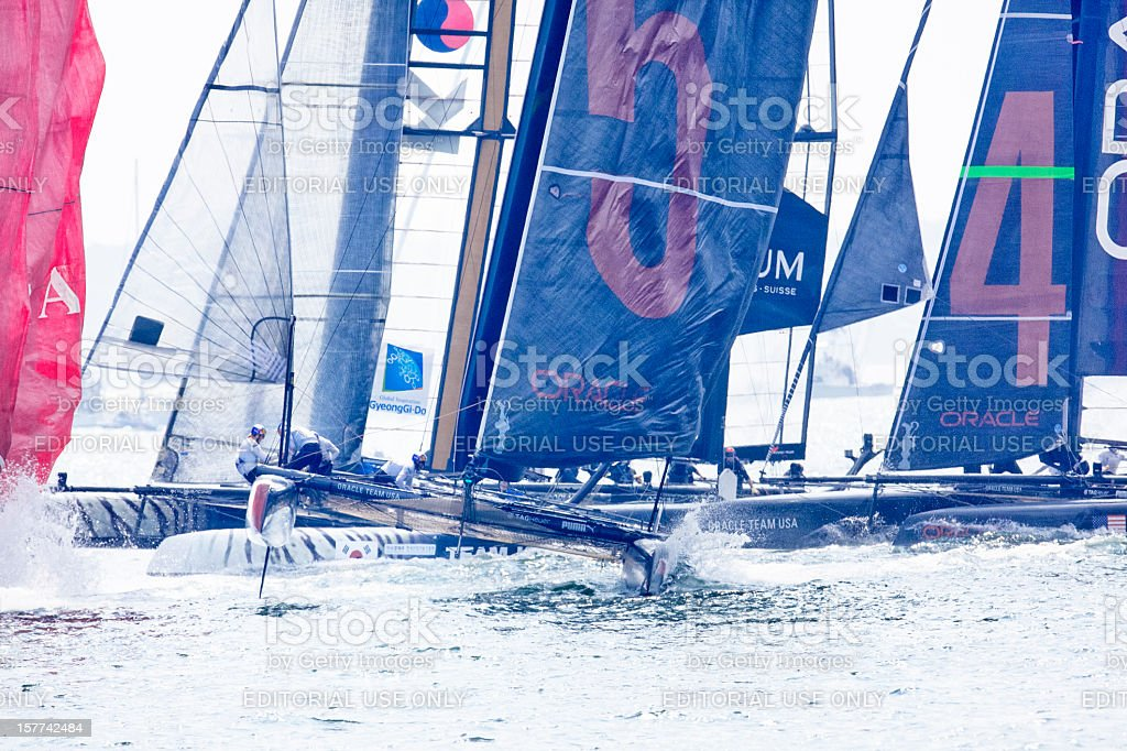 Start of Yacht Race stock photo
