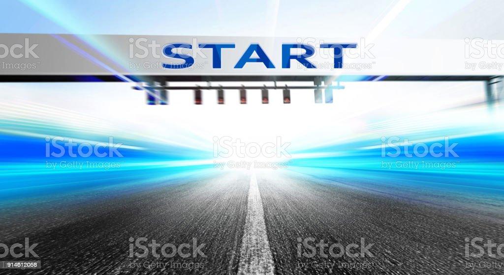 start on race course stock photo