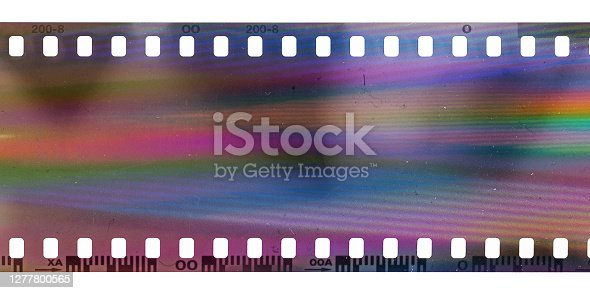 real scan of film material with funny rainbow scanning light interferences.