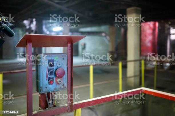 Foto de Iniciar Ou Parar O Botão Para A Máquina Industrial Closeup e mais fotos de stock de Acidentes e desastres