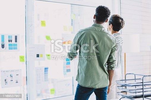 Rearview shot of two businesspeople brainstorming with notes on a glass wall in an office
