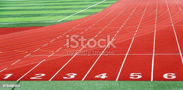istock Start running track in sport field 879468454