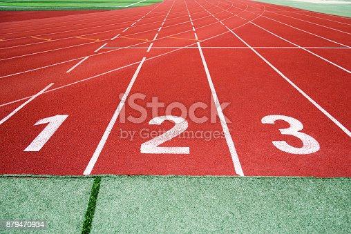 istock Start running track in sport field 879470934