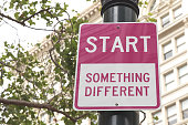 Start Something Different pink road sign in San Francisco