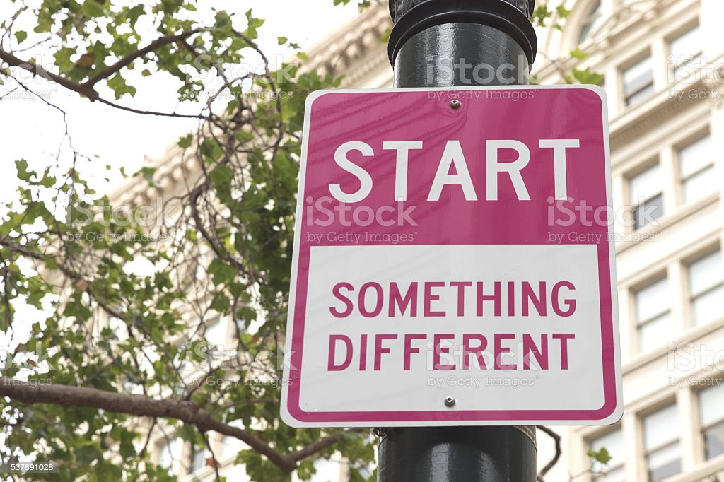 Start Something Different pink road sign in San Francisco stock photo