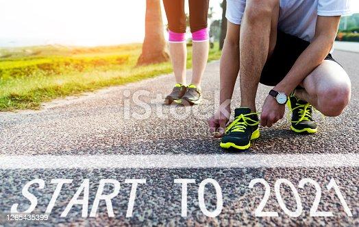 Start to 2021 on asphalt road