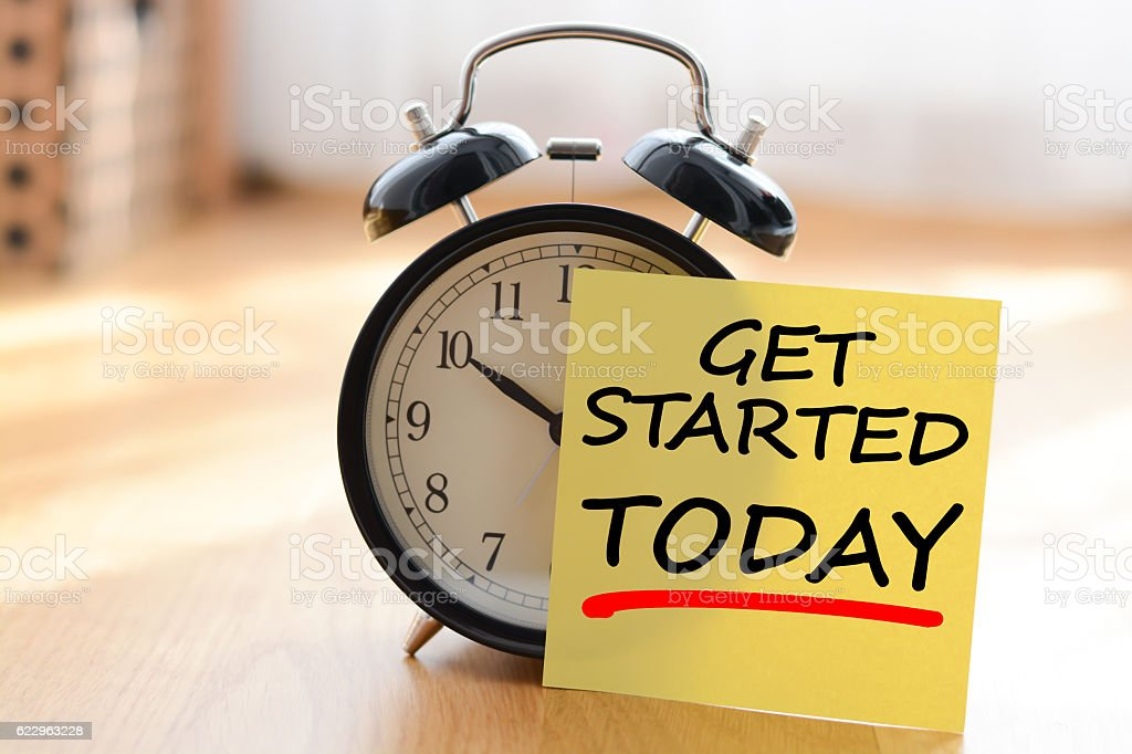 Start today your own business concept stock photo