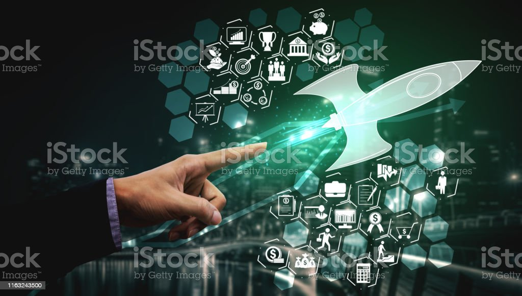 Start Up Business of Creative People Concept Start Up Business of Creative People Concept - Modern graphic interface showing symbol of entrepreneurship, fund, and project plan to start a new small business by smart group of entrepreneur. Beginnings Stock Photo