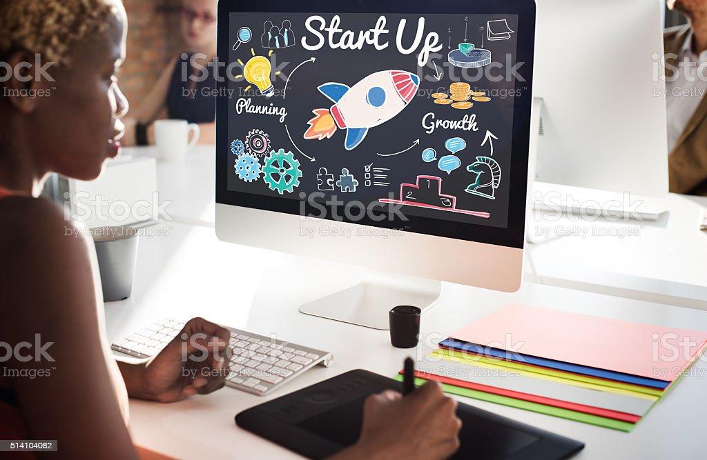 Start up Planning Growth Development Launch Concept stock photo
