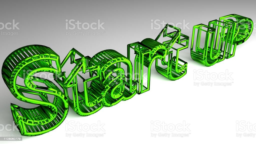Start up sign in green glossy letters stock photo