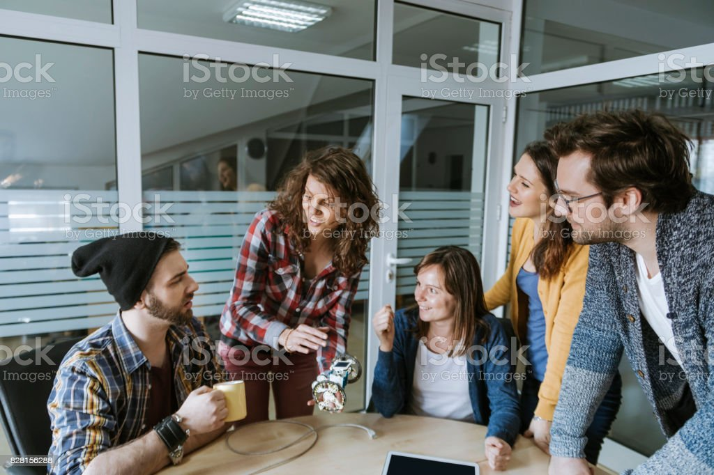 Start up team Of Freelancers in the office stock photo