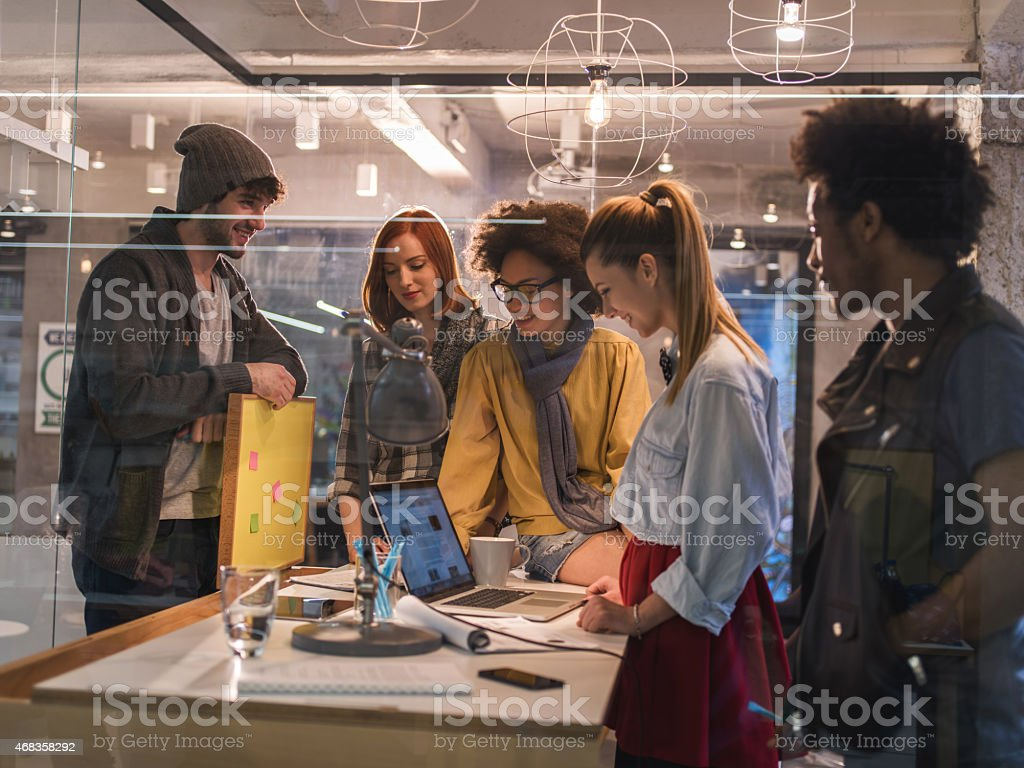 Start up team using computer in the office. royalty-free stock photo