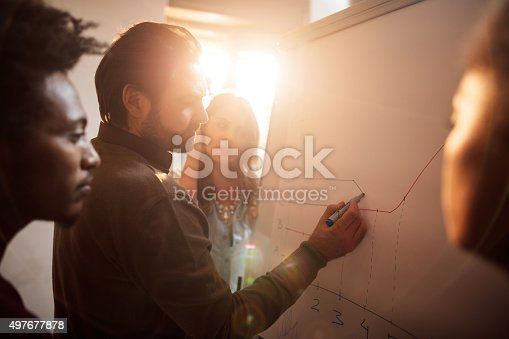 497812268 istock photo Start up team working on a business chart together. 497677878
