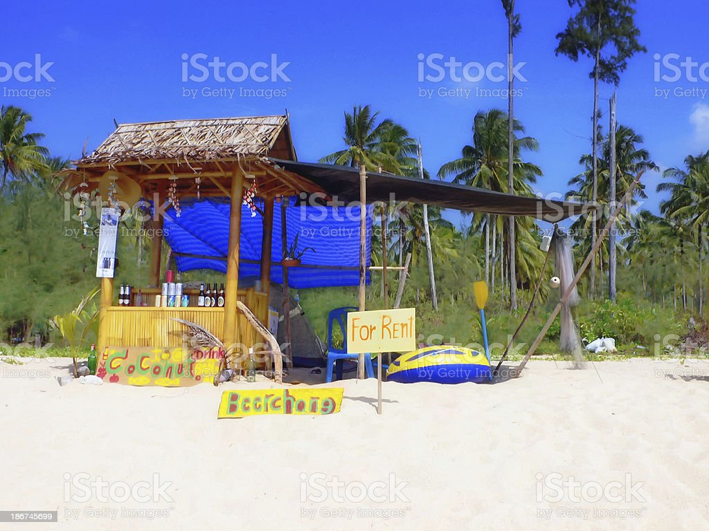start up with beach bar and small marina stock photo