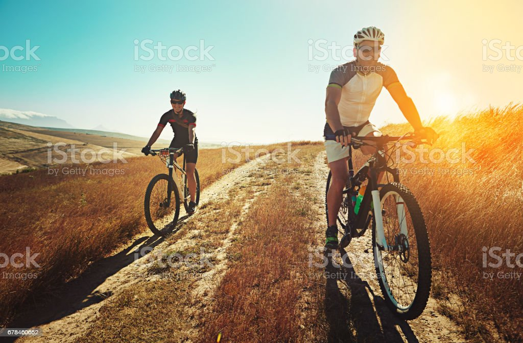 Start your day right with some mountain biking royalty-free stock photo