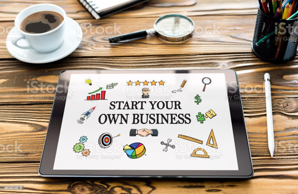 Start Your Own Business Concept on Digital Tablet Screen - Royalty-free Beginnings Stock Photo