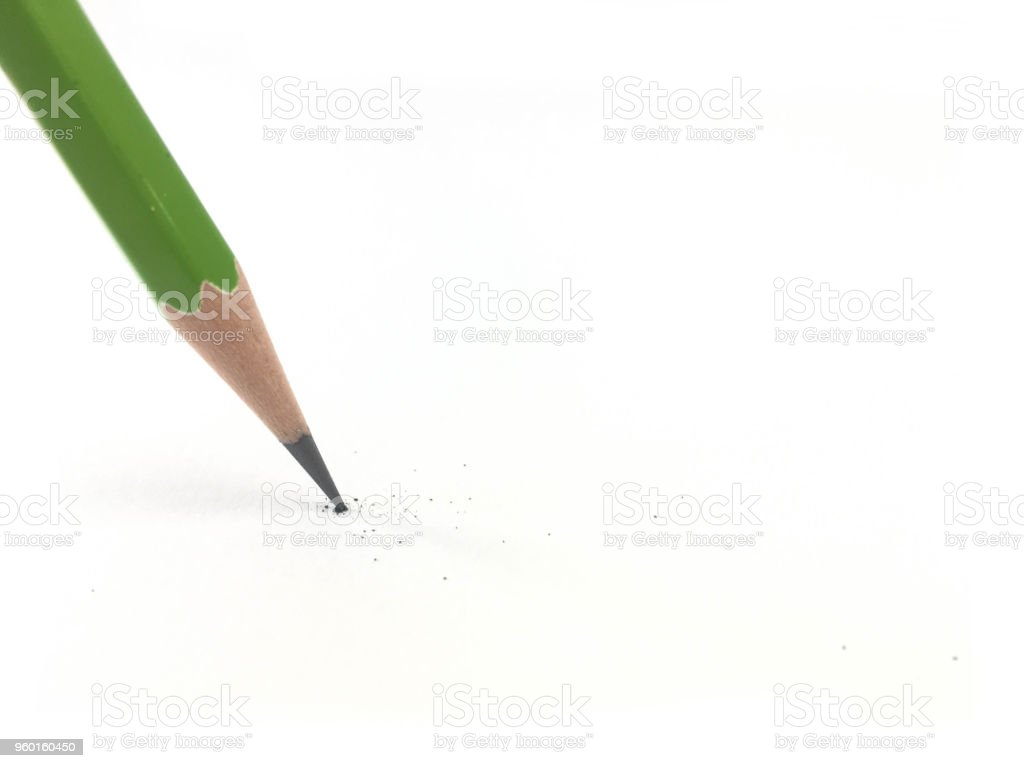 Started pencil writing on paper. stock photo