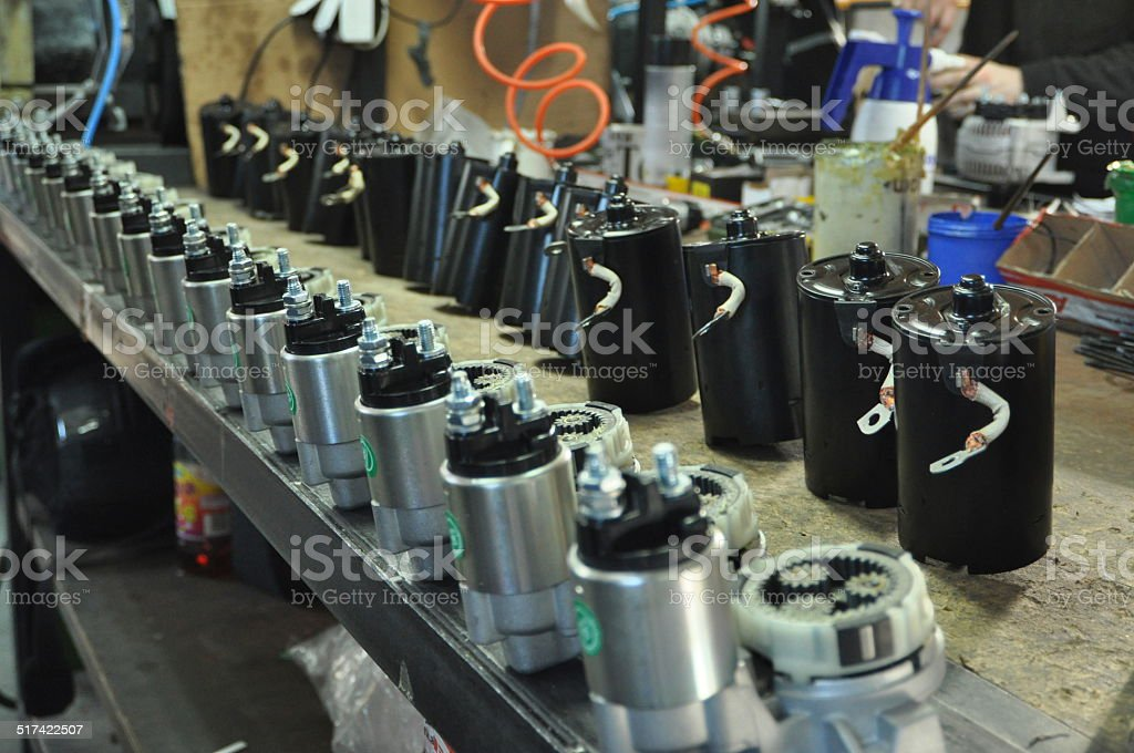 Starters for automotive engines on the production line stock photo