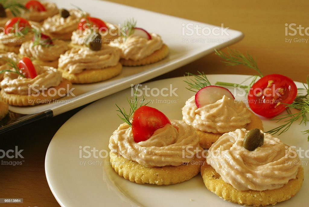 Starters with salmon spread royalty-free stock photo