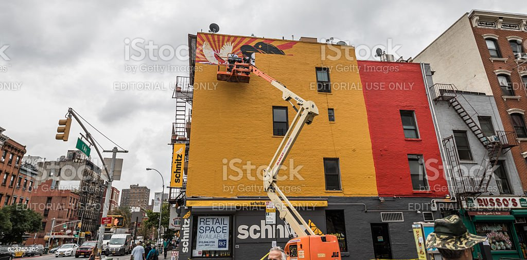 Starting a wall painting, Manhattan, New York City, United States stock photo