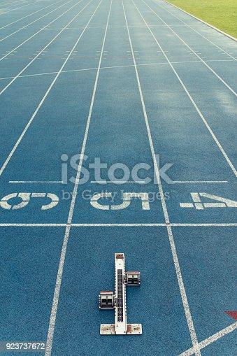 istock Starting block on a running track 923737672