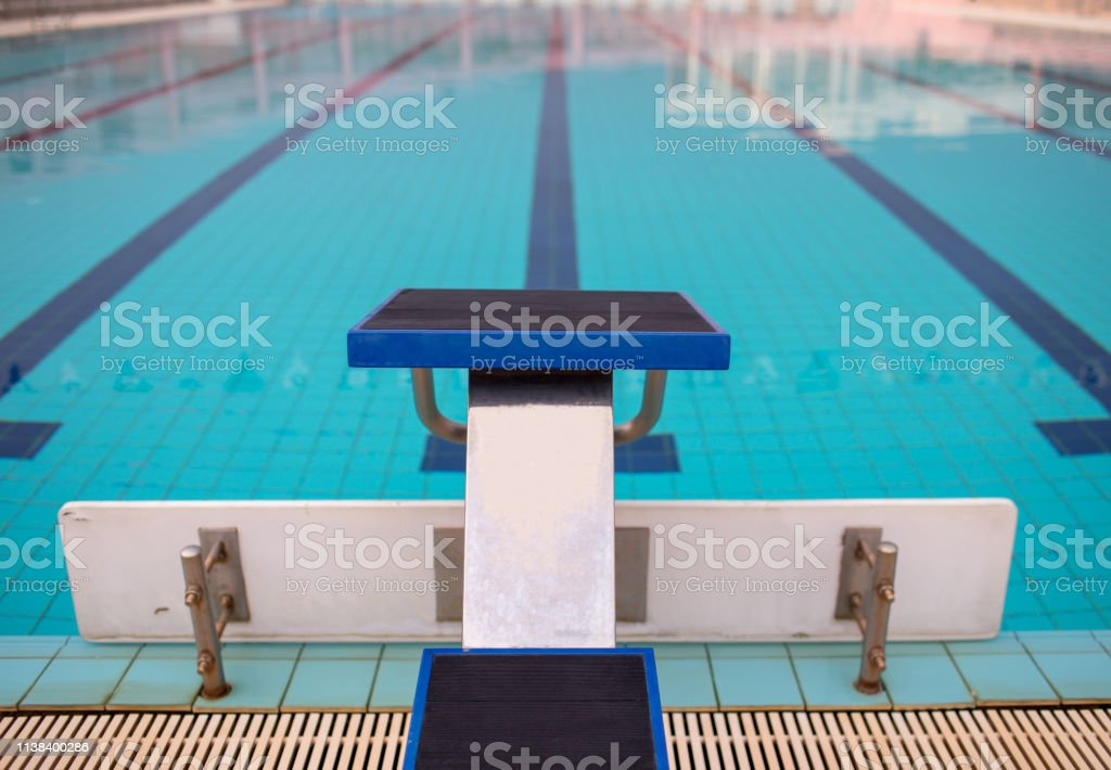 Starting Blocks In Row By The Swimming Pool Selective Focus ...
