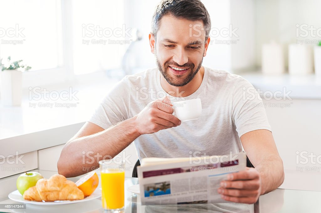 Starting day from good news. stock photo