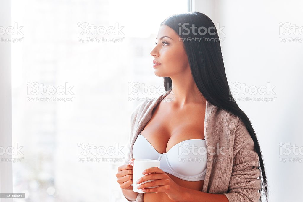 Starting day with fresh coffee. stock photo