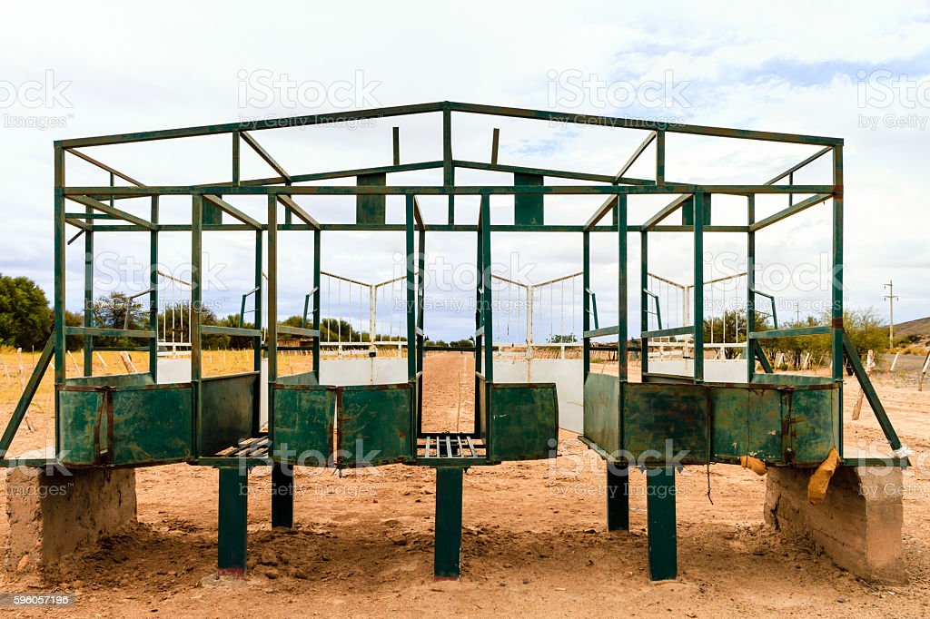 Starting gate of a rural racecourse in Catamarca, Argentina royalty-free stock photo