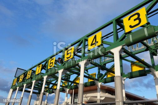 Close up shot of an empty starting gate, waiting for the thoroughbreds to be loaded in and the beginning of the race.