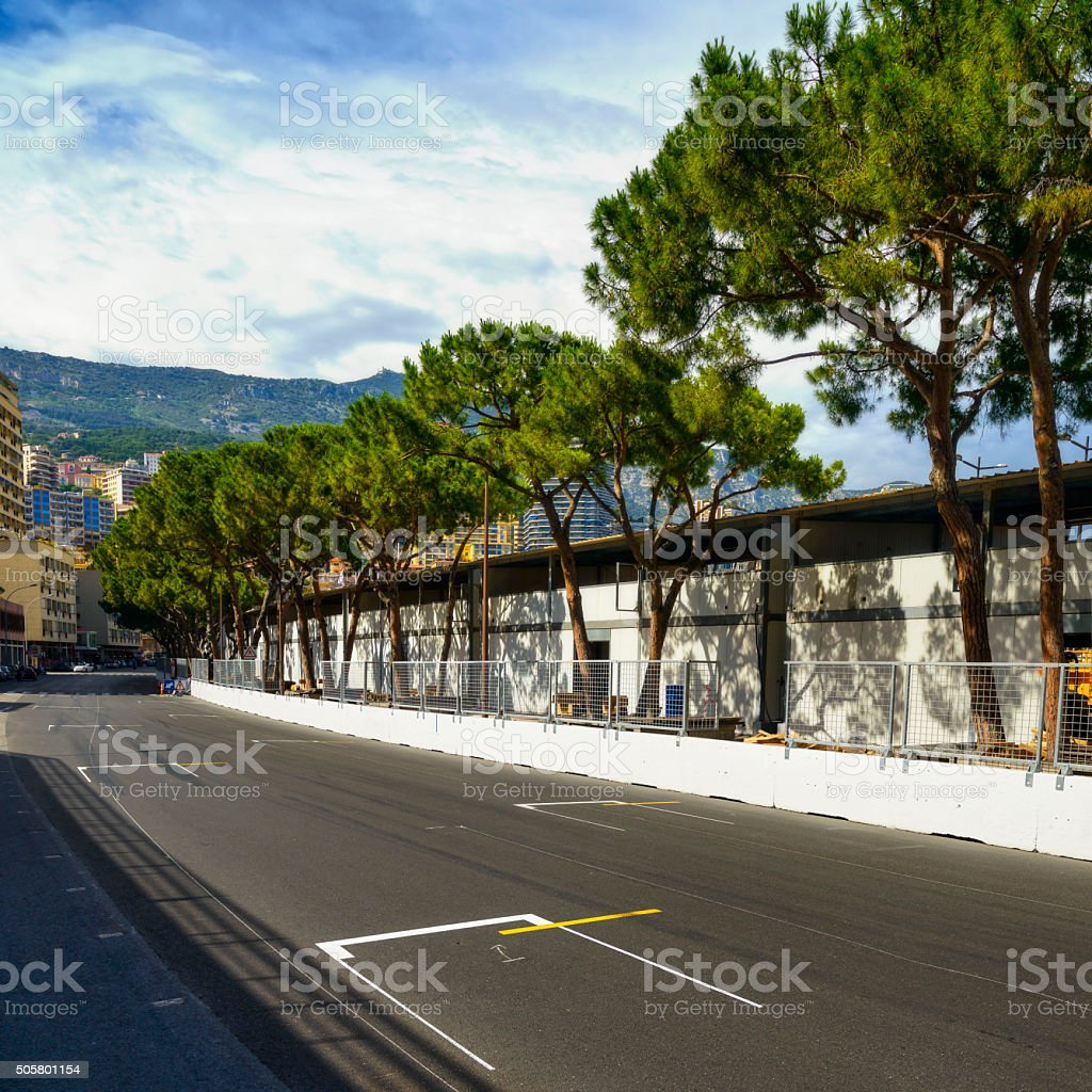 Starting grid asphalt Monaco race Grand Prix circuit stock photo