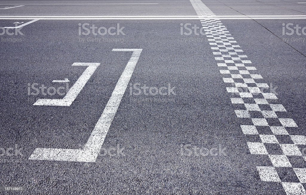 starting grid on racing track stock photo